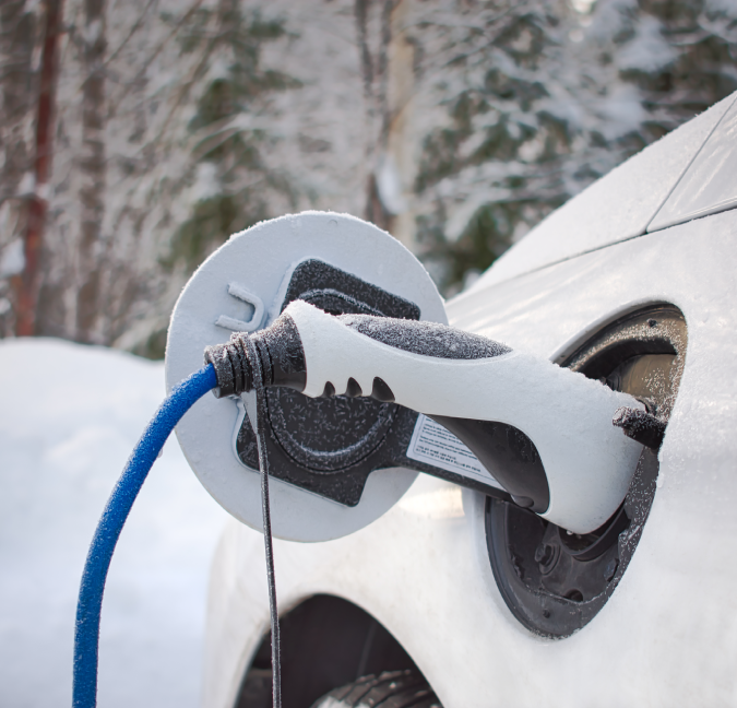 charging your ev in snow