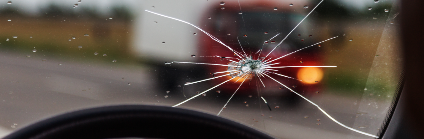 Damaged windscreen