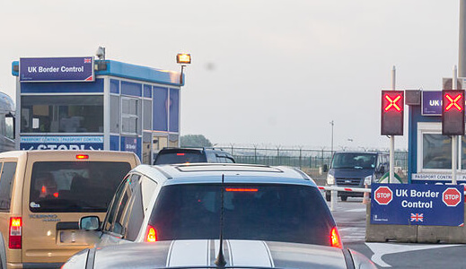 Cars at UK border control